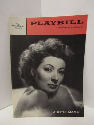 PLAYBILL THE BROADHURST THEATRE AUNTIE MAME;. Playbill