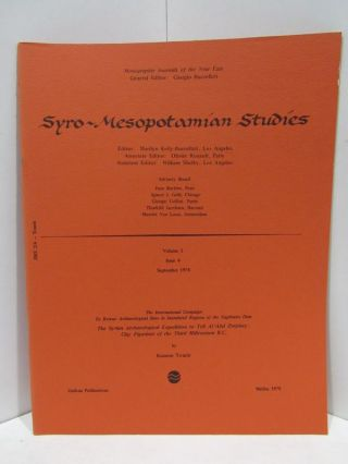 SYRO-MESOPOTAMIAN STUDIES VOLUME 2 ISSUE 4 FEBRUARY 1978;. Giorgio Buccellati