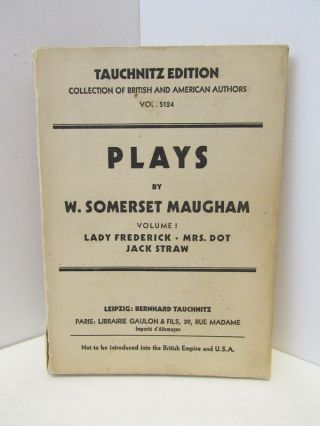 PLAYS VOLUME I;. Somerset Maugham.